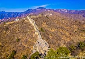 The Great Wall of China winding along the mountain ridge near Beijing, China