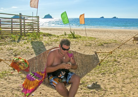 On a remote island beach in the Philippines. Seems I'm more focused on uploading the photo of me lying in the hammock on the beach, rather than just enjoying lying in the hammock on the beach!