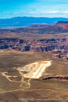 The runway of the Grand Canyon Airport on the edge of the Canyon's rim.