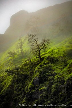 A fine mist engulfs a mountain in Lonavala, India