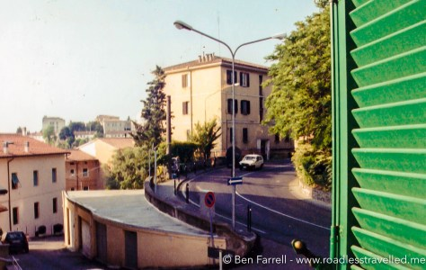 The view from my apartment on Via Eugabina in Perugia.