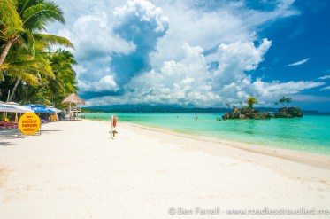 The white sand beach during the day. Empty as most Filipino's don't like to get tanned!
