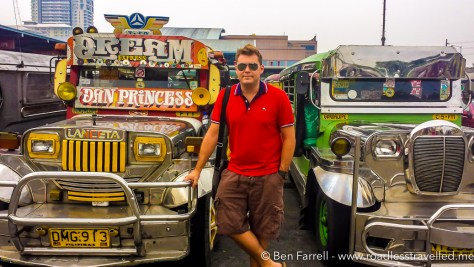 Me posing with two 'Jeepneys' the main mode of transport in the Philippines. Essentially a converted stretch Jeep for passengers left over the WW2.