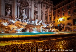 The Trevi Fountain late at night, Rome, Italy