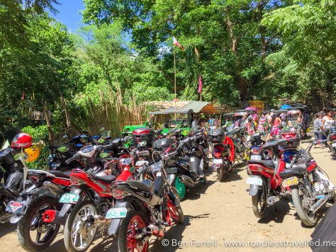 The motorbike parking area, right near the entrance to the park! Very handy!
