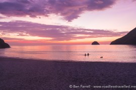 Violet sunset in Anawangin Cove, Philippines