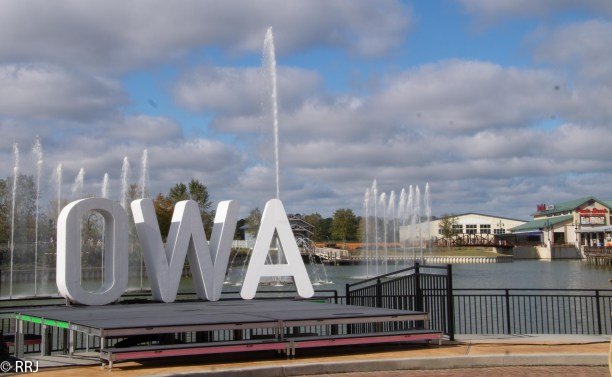 Daytime fountains at downtown OWA