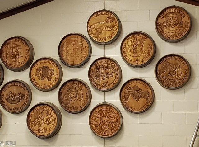 carved barrel heads at Beachaven clarksville tn