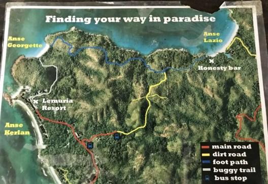Wanderkarte Anse Lazio zur Anse Georgette