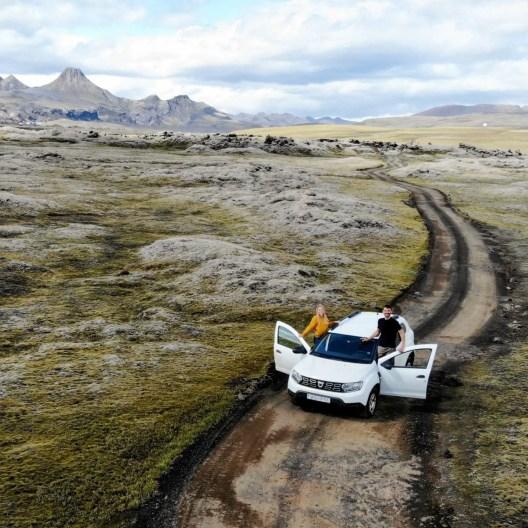 Schotterstraßen in Island