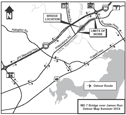 Here is the detour map for the project: