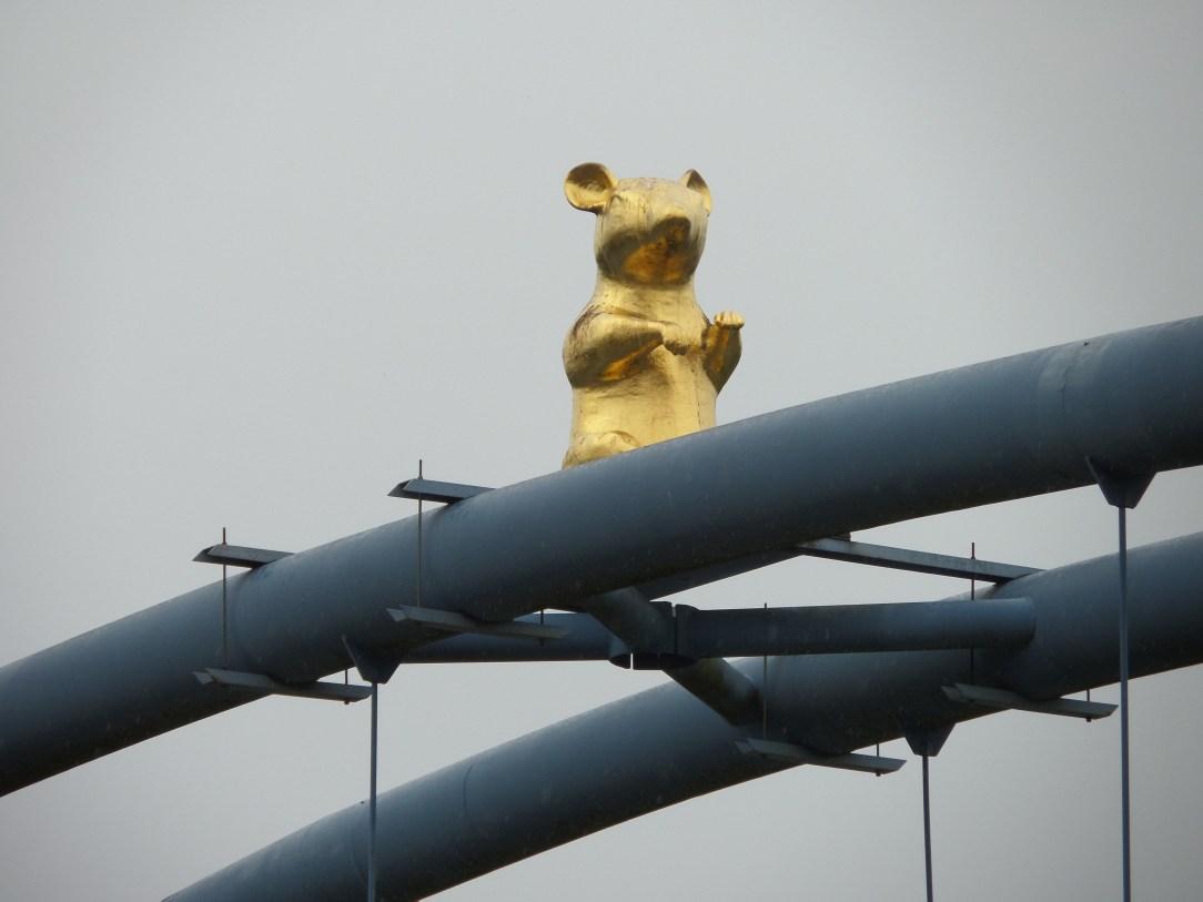 Rat sculpture on top of bridge in Hamelin, Germany