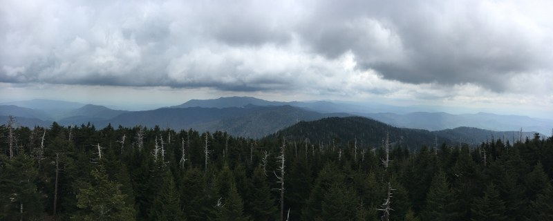 Panoramic vew of the Great Smoky Mountains from Clingmans Dome