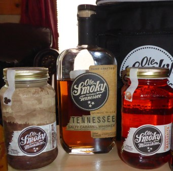 Bottles of moonshine and whiskey from Ole Smoky Distillery