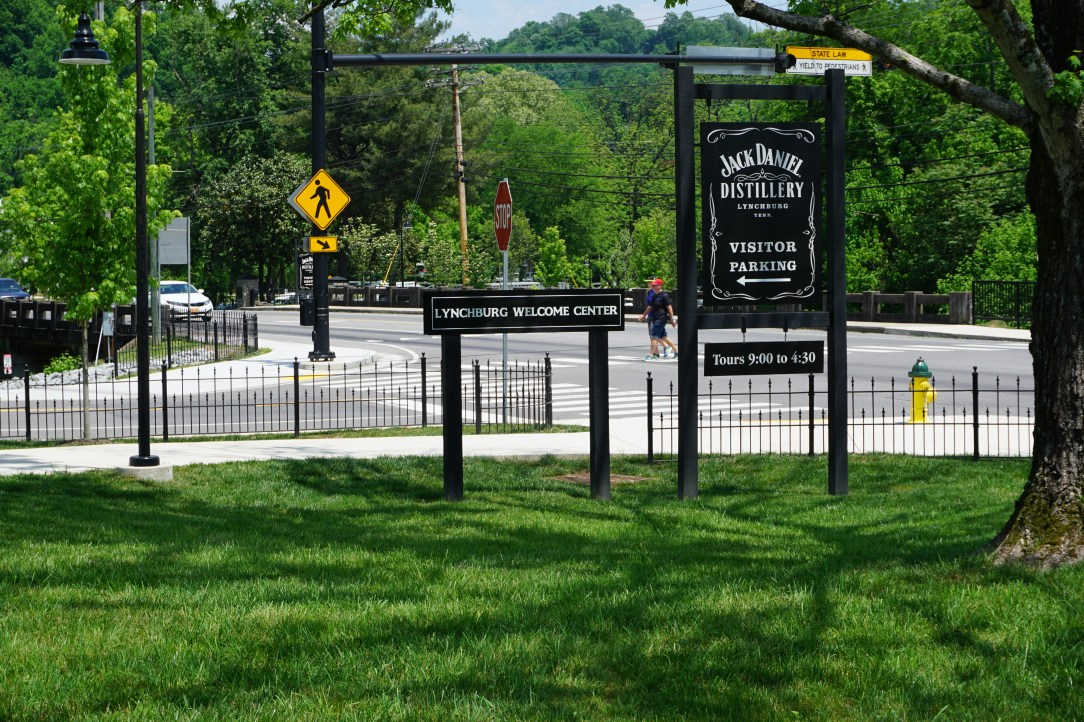Visitor sign for Lynchburg Welcome Center and Jack Daniel Distillery