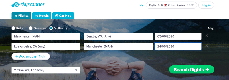 A multi-city search on Skyscanner