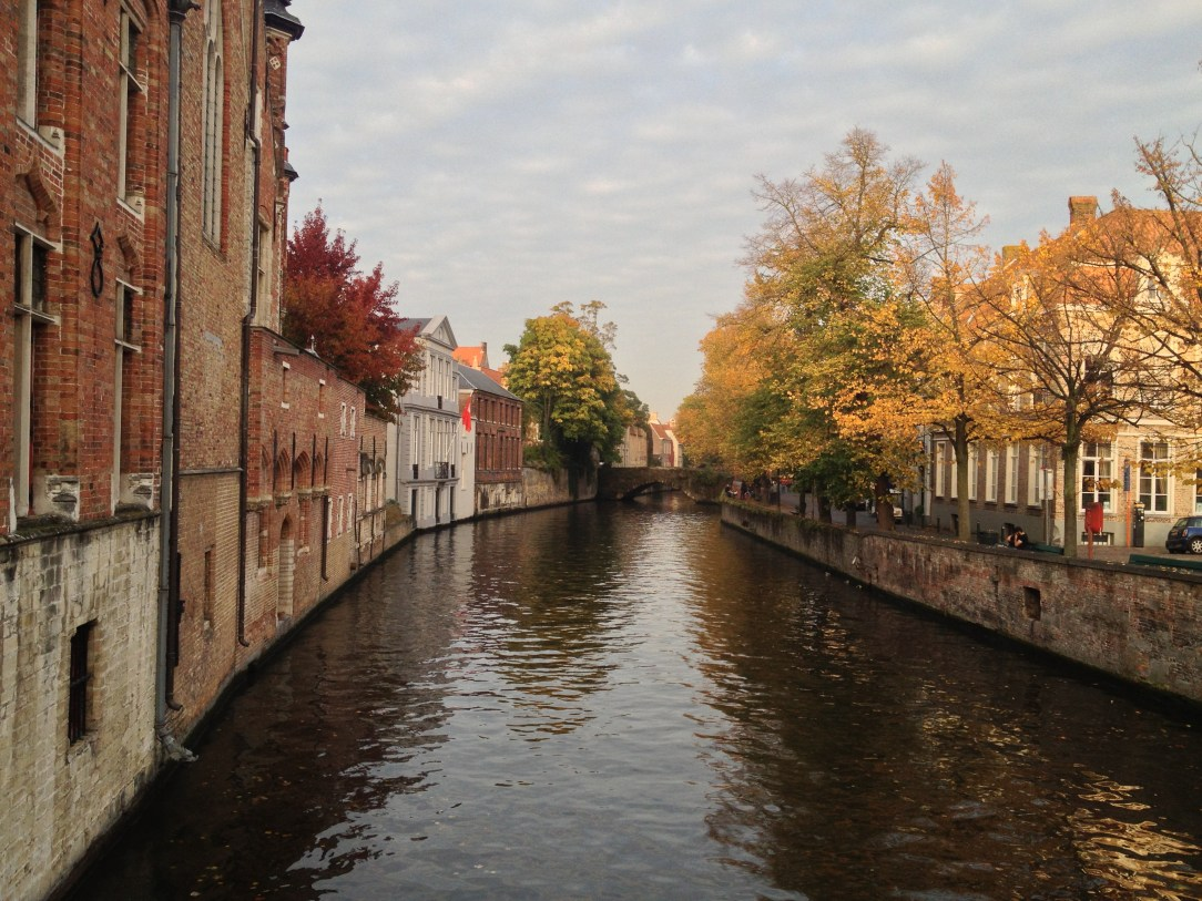 Looking out at one of the canal's in Bruges, Belgium