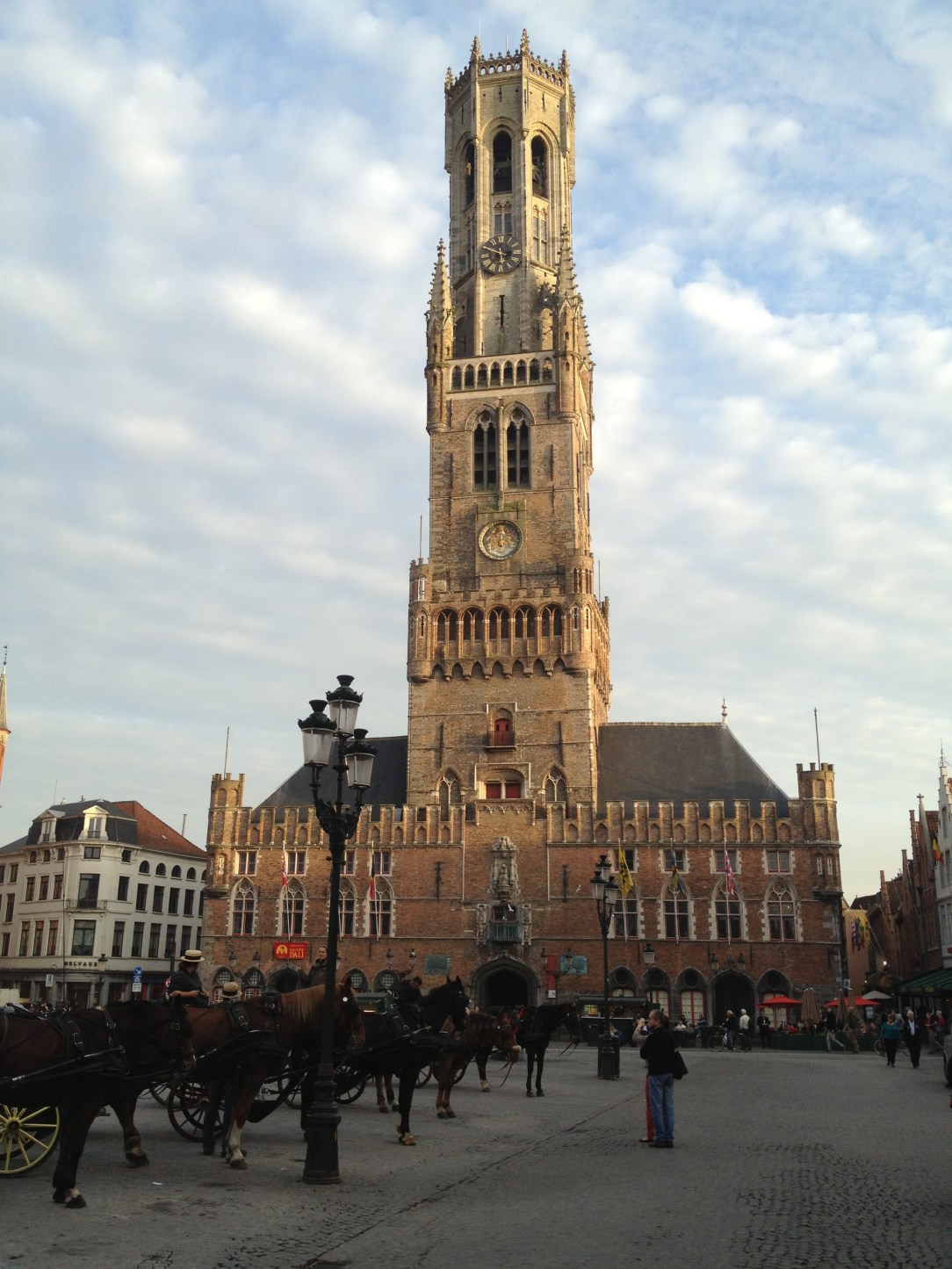 Medieval bell tower called the Belfry in the centre of Bruges