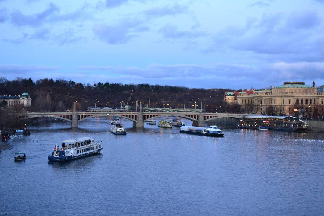 Party boats getting ready for Prague New Years Eve