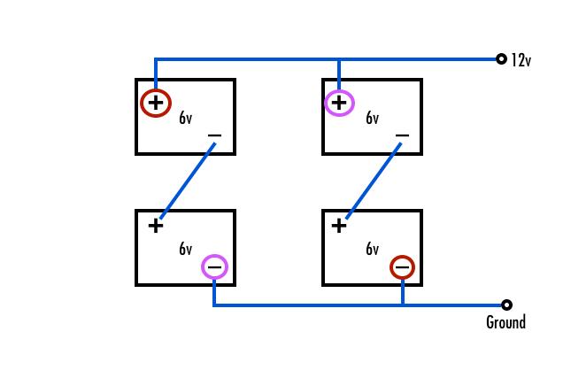 4 6 Volt Batteries In Series Diagram