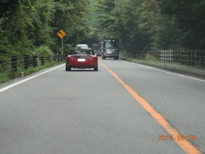国道139号線で、精進湖へ