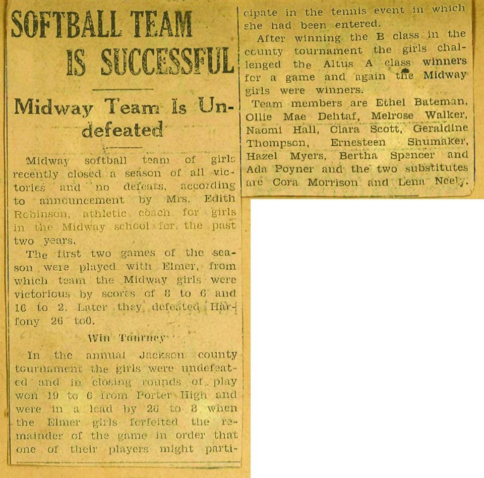 vintage newspaper article: Softball Team is Successful