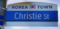 Korea Town, Christie Street sign