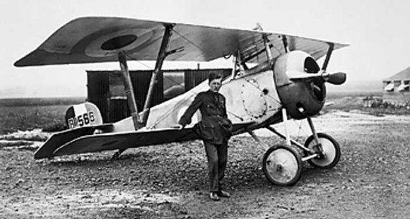 Billy Bishop with his airplane