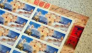 corner block of stamps from Canada Post