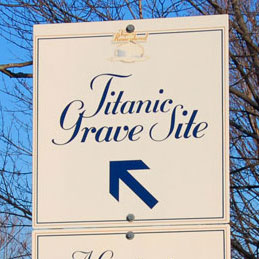 Titanic Grave Site sign at Fairview Cemetery