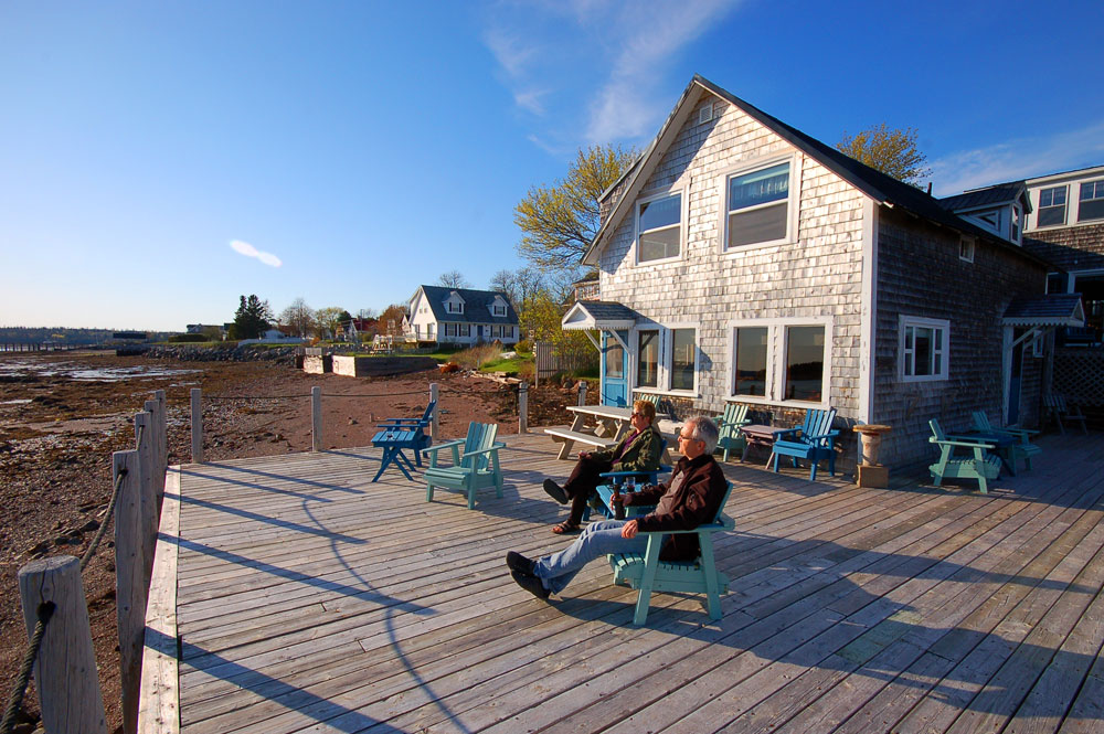 wooden deck behind Seaside Beach Resort cottage in St. Andrews by-the-Sea