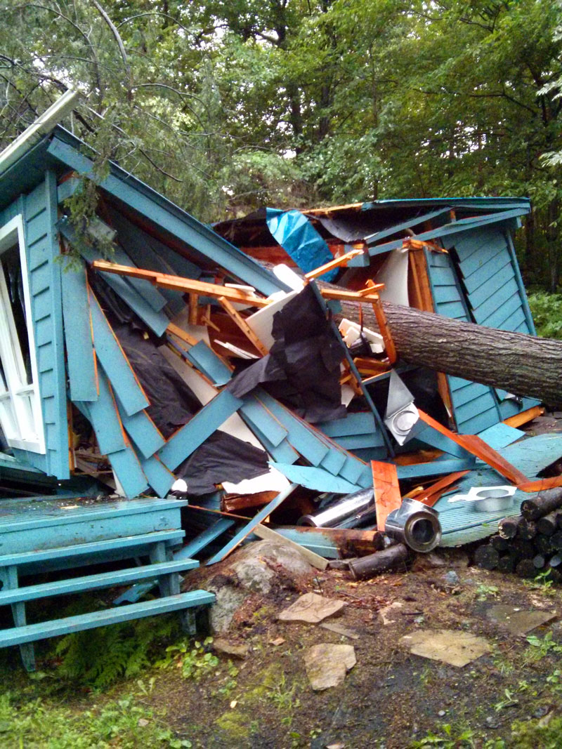 cottage destroyed by falling tree