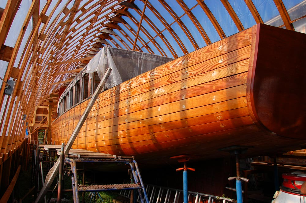 SS Bigwin steamboat during restoration
