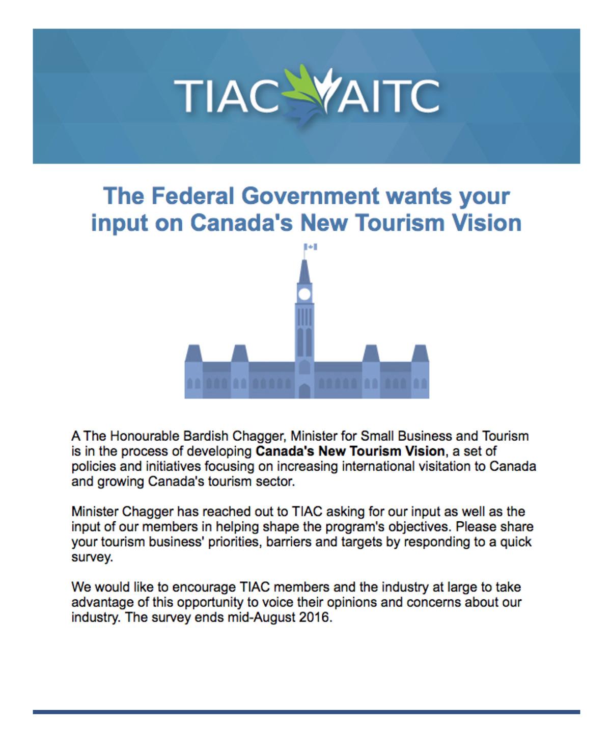 Canada's New Tourism Vision survey