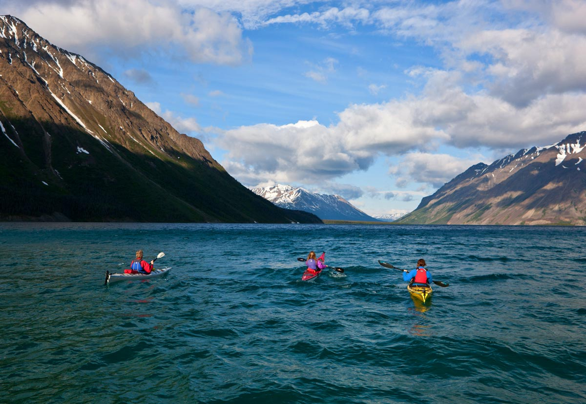 Kayaks in Kluane National Park, Yukon, Canada.