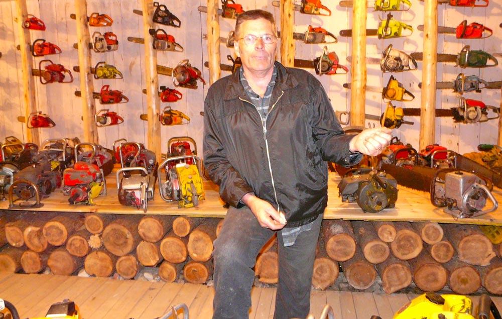 Vernon Wheeler with chain saws