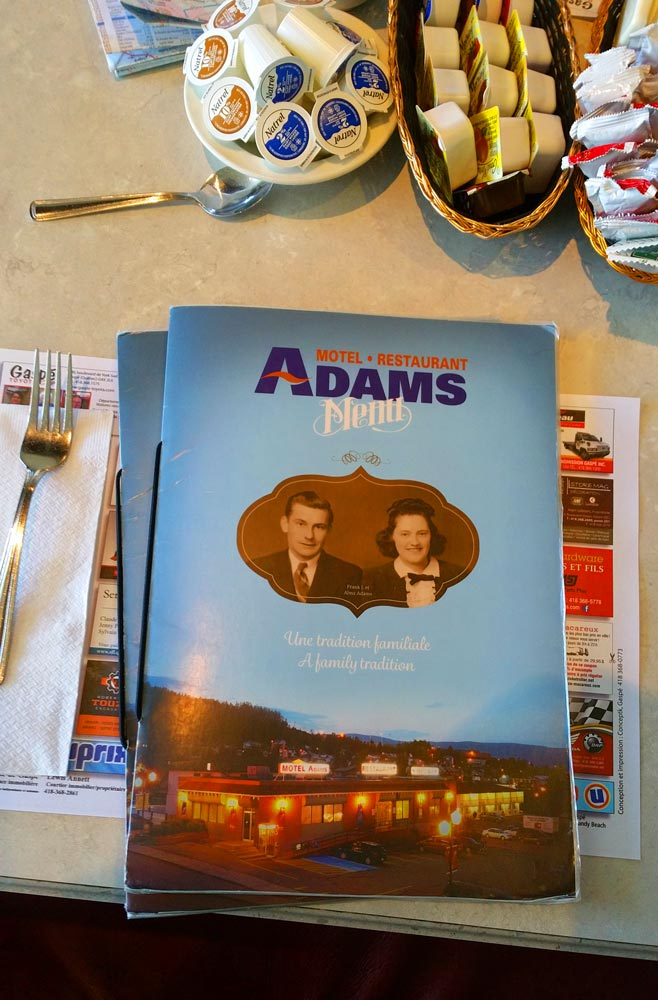 Adams Motel menu, Gaspe, Quebec