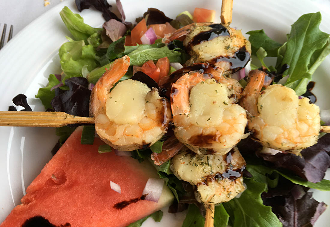 VIA Rail shrimp scallop skewer Canada by train
