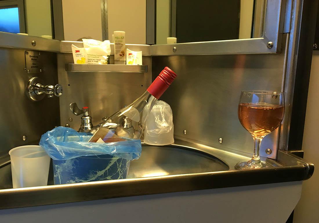 VIA Rail sink with wine