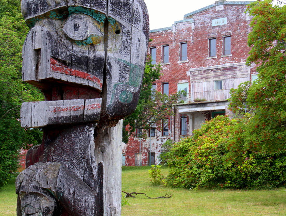 St. Michaels Residential School with weathered totem - 2009