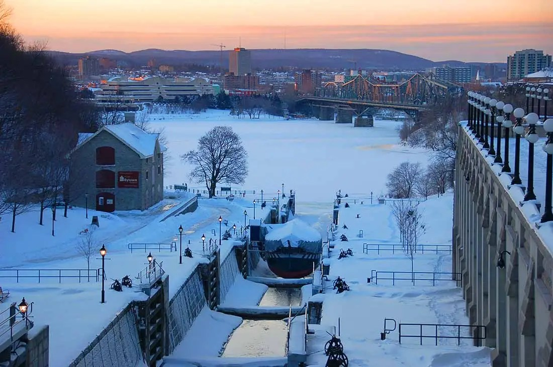 Rideau Canal in winter Ottawa