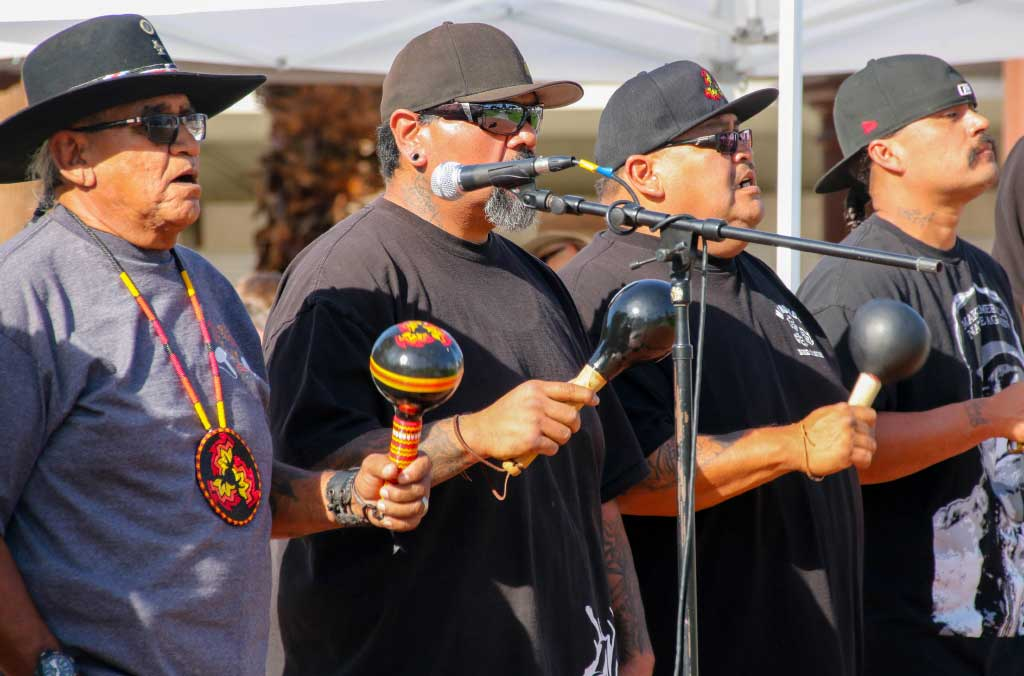 Agua Caliente Band-Bird singers with rattles performing at Kewet
