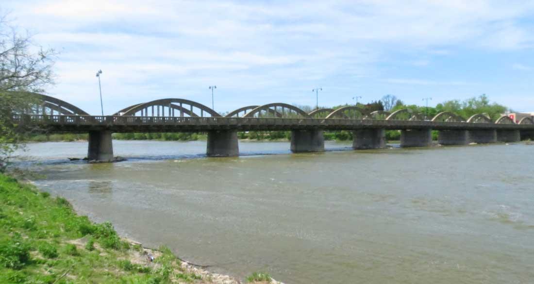 Charles Mattaini Bowstring Bridges_Grand River Caledonia nine-arch bridge