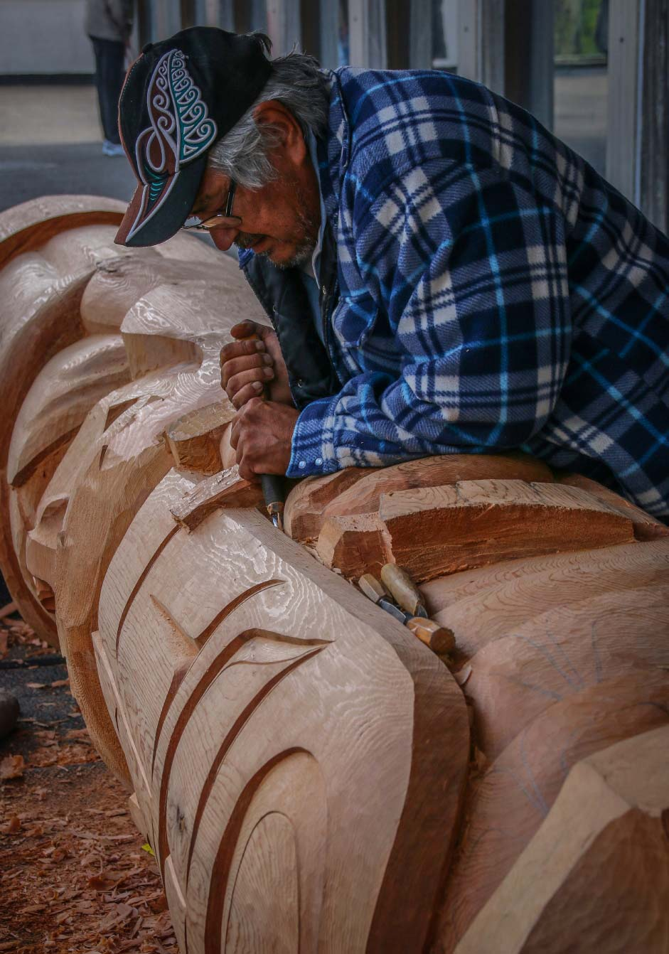 Totem Pole Carving - using hand tools