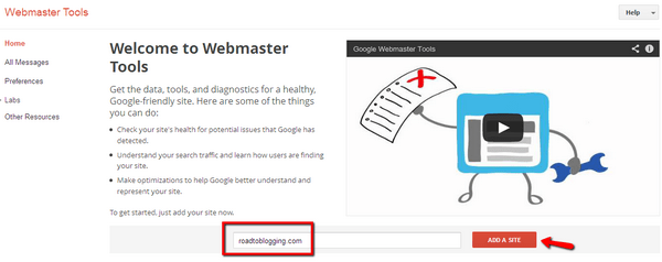 Add a site to Webmaster