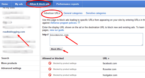 Block ads on Google AdSense
