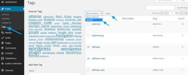 deleting wordpress post tags