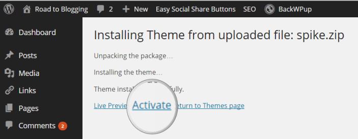 Activate Premium WordPress Theme