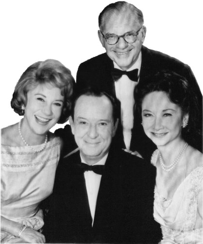 Dorothy Kilgalen with Bennett Cerf, Arlene Francis and hair dresser Marc Sinclaire