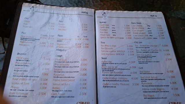 Carte du restaurant Camp Karagaq - Kosovo
